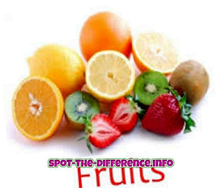 Rozdiel medzi výživou ovocia a zeleniny