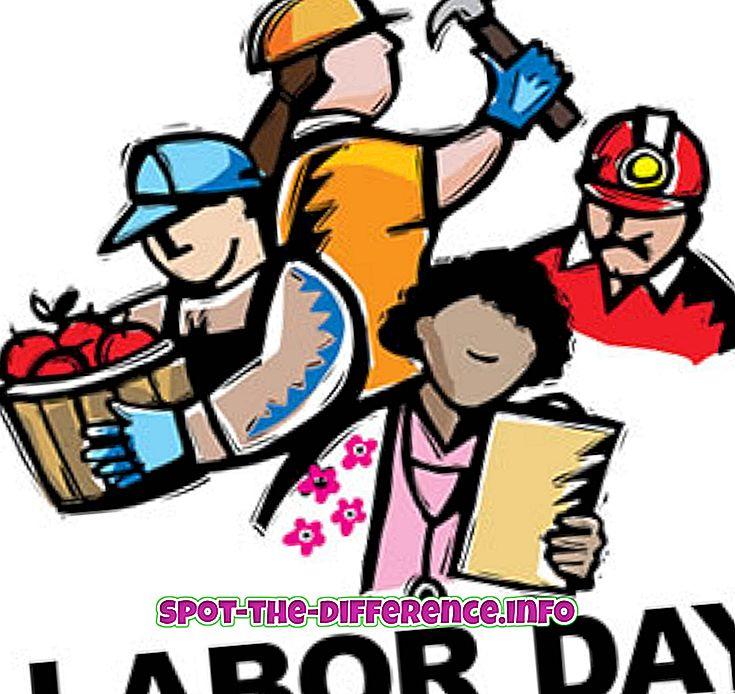 verschil tussen: Verschil tussen Dag van de Arbeid en Memorial Day