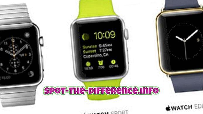 forskjell mellom: Forskjell mellom Apple Watch og Moto 360
