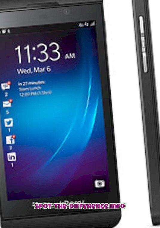 Verschil tussen BlackBerry Z10 en Sony Xperia Z