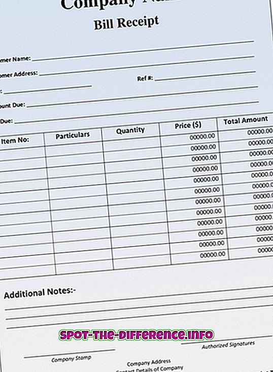 Différence entre facture et chèque