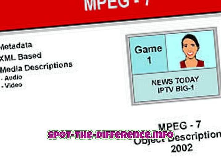 Rozdíl mezi formáty MPEG7 a MPEG21