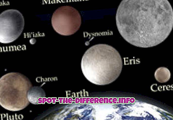 forskjell mellom: Forskjellen mellom dvergplan og måner
