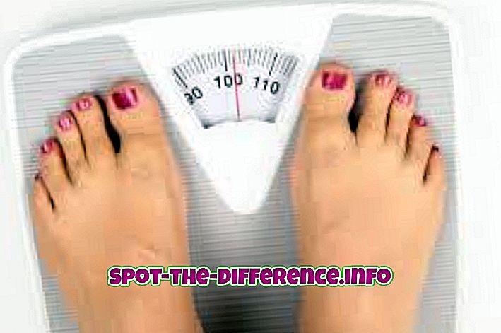 forskjell mellom: Forskjellen mellom vekt og fett