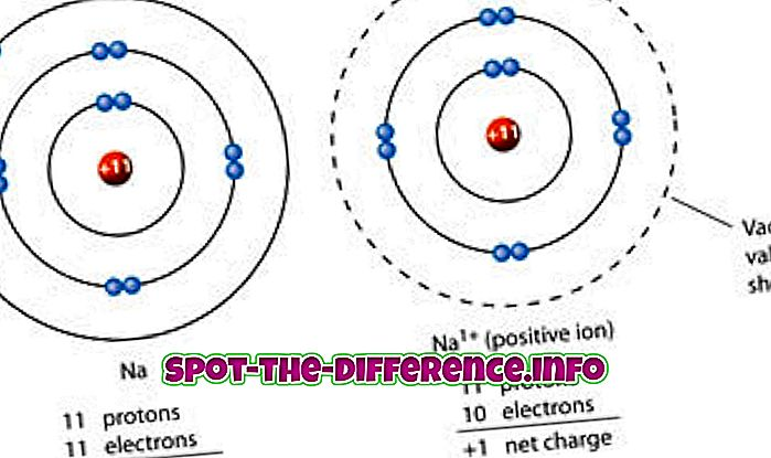 forskel mellem: Forskel mellem en positiv ion og en negativ ion