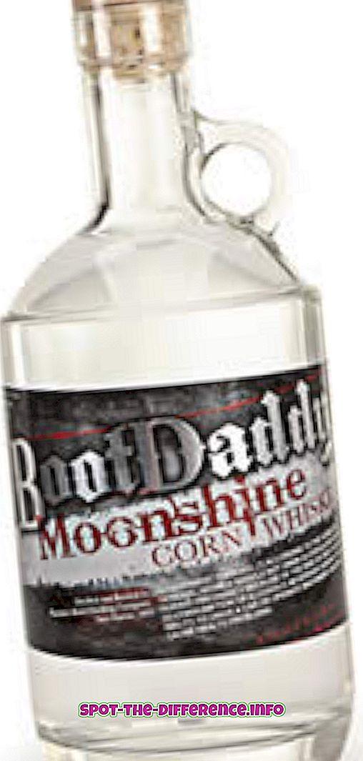 Różnica między Moonshine i Whiskey