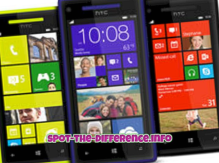 차이점: HTC Windows 8X와 HTC Droid DNA의 차이점