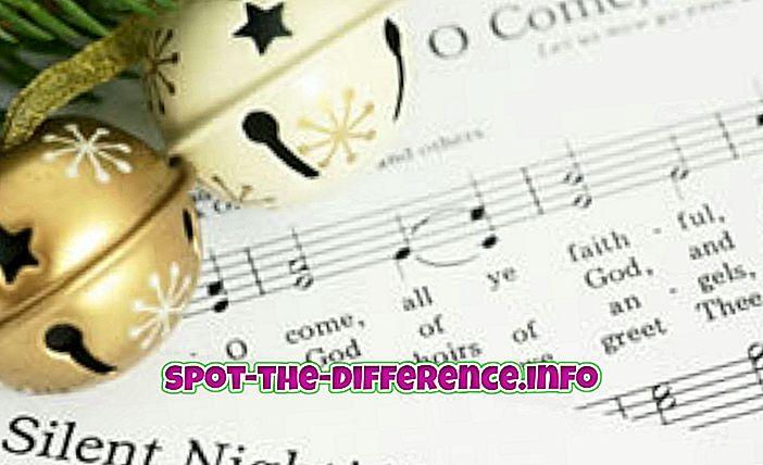 разлика између: Разлика између Божићних песама и Божићних песама