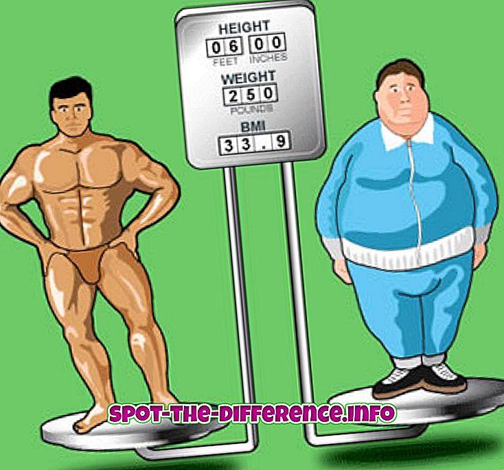 forskjell mellom: Forskjellen mellom BMI og kroppsfett