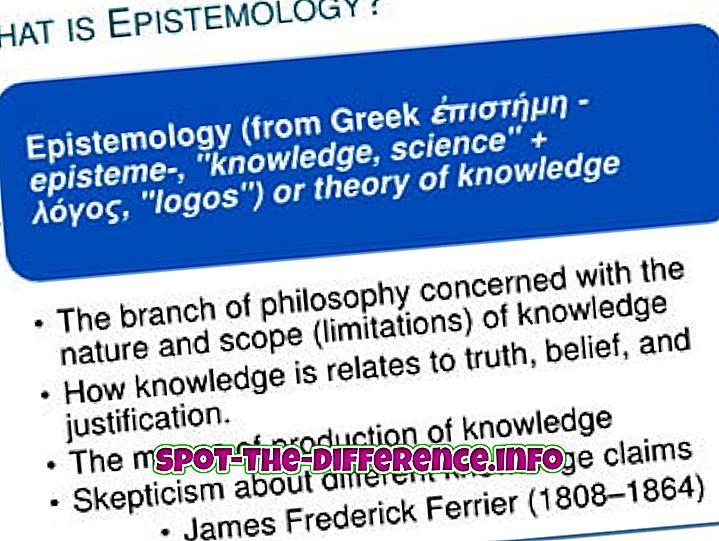 rozdíl mezi: Rozdíl mezi epistemologií a ontologií