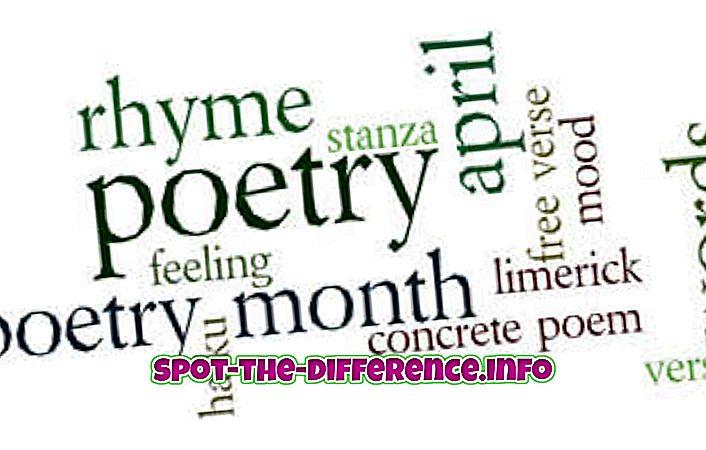 verschil tussen: Het verschil tussen Poëzie en Proza
