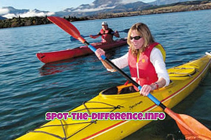 Rozdiel medzi kajakom a kanoe
