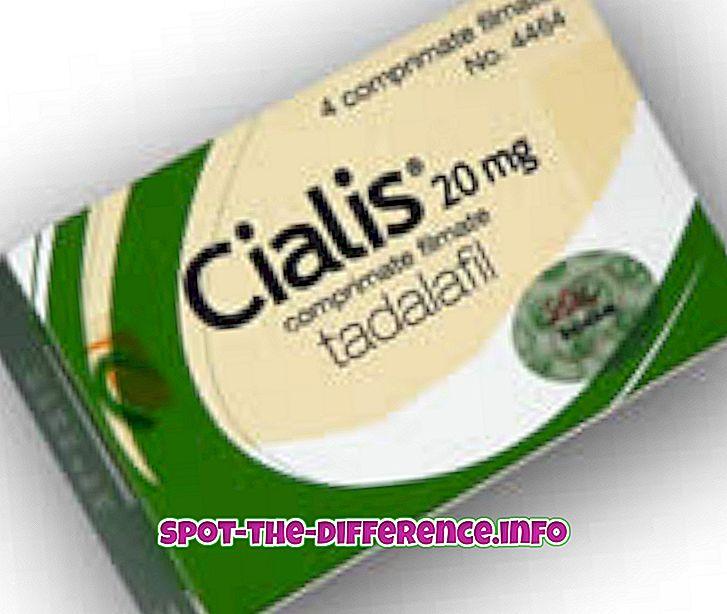 atšķirība starp: Starpība starp Cialis un Viagru