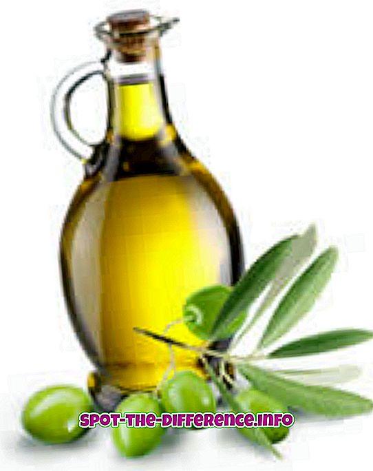 Forskjell mellom olivenolje og ekstra jomfruolivenolje