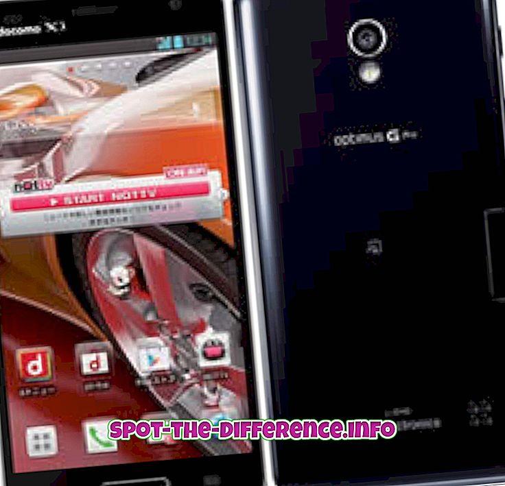 vahe: Erinevus LG Optimus G Pro ja LG Optimus G vahel