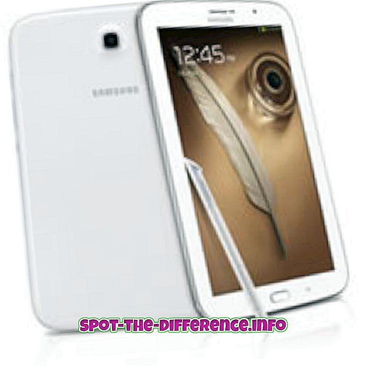Verschil tussen Samsung Galaxy Note 8.0 en Samsung Galaxy Tab 2 7.0