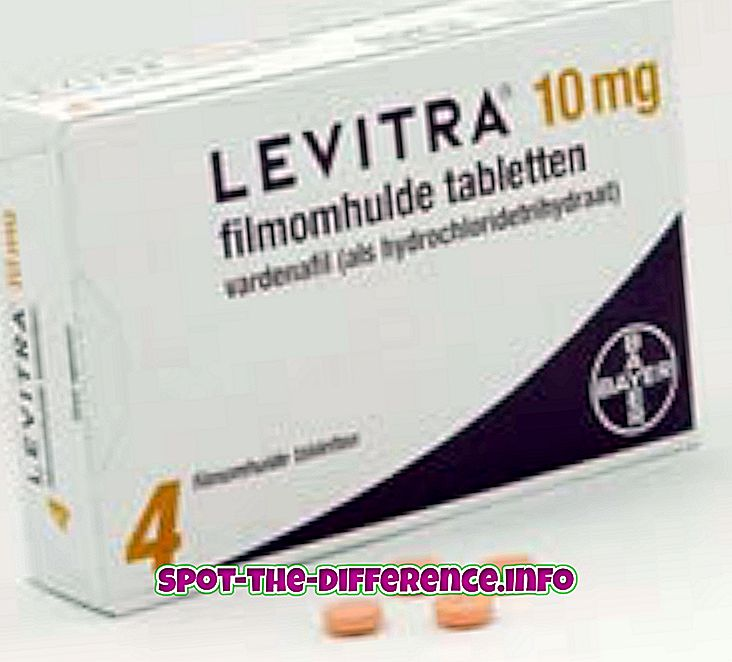ความแตกต่างระหว่าง: ความแตกต่างระหว่าง Levitra และไวอากร้า