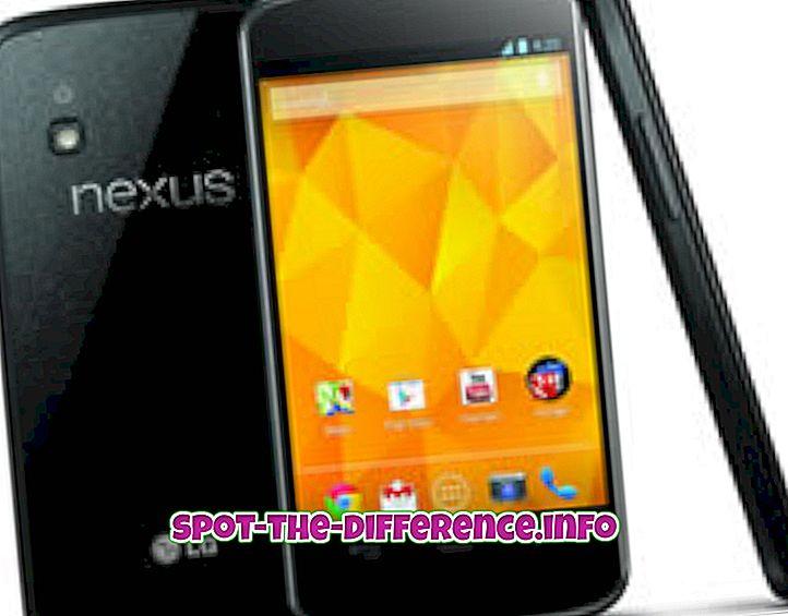 verschil tussen: Verschil tussen Nexus 4 en Nexus 7