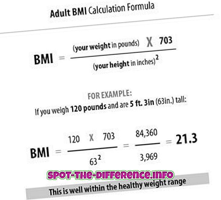 Rozdiel medzi BMI a BSA