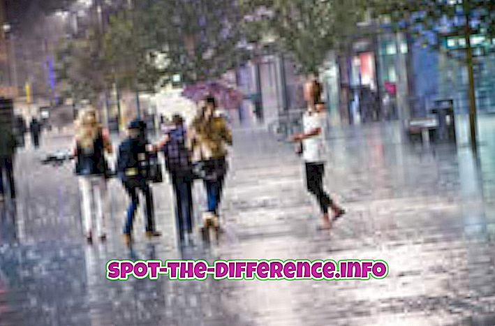 forskjell mellom: Forskjell mellom lyse regn og dusjer