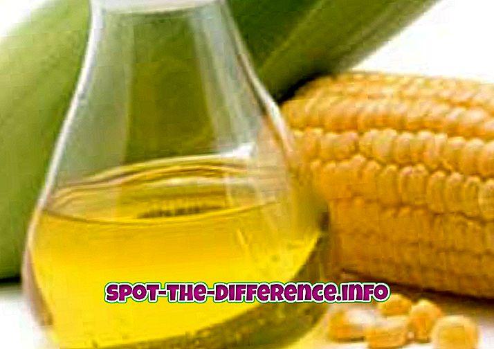 різниця між: Різниця між пальмовим маслом і кукурудзяною олією