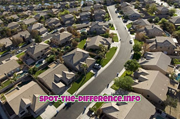 perbedaan antara: Perbedaan antara Pinggiran Kota dan Pinggiran Kota