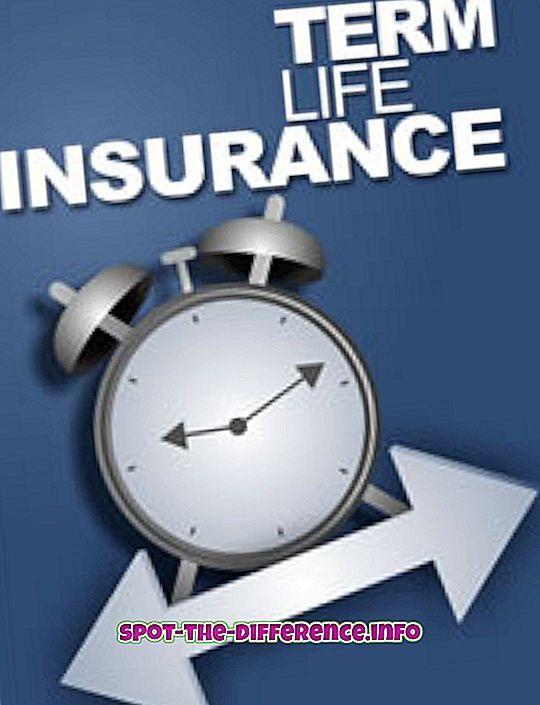 verschil tussen: Het verschil tussen de looptijd en de gehele levensverzekering
