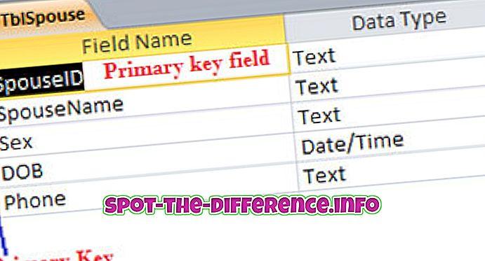 Ensisijaisen avaimen ja yksilöllisen avaimen välinen ero