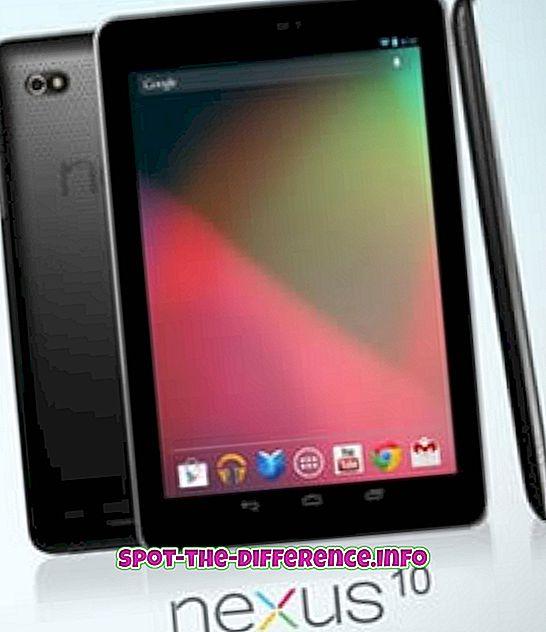 verschil tussen: Verschil tussen Nexus 10 en Galaxy Note 10.1