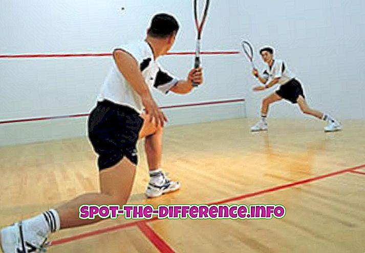rozdiel medzi: Rozdiel medzi squashom a tenisom