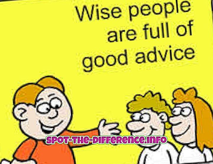 populære sammenligninger: Forskjellen mellom råd og forslag