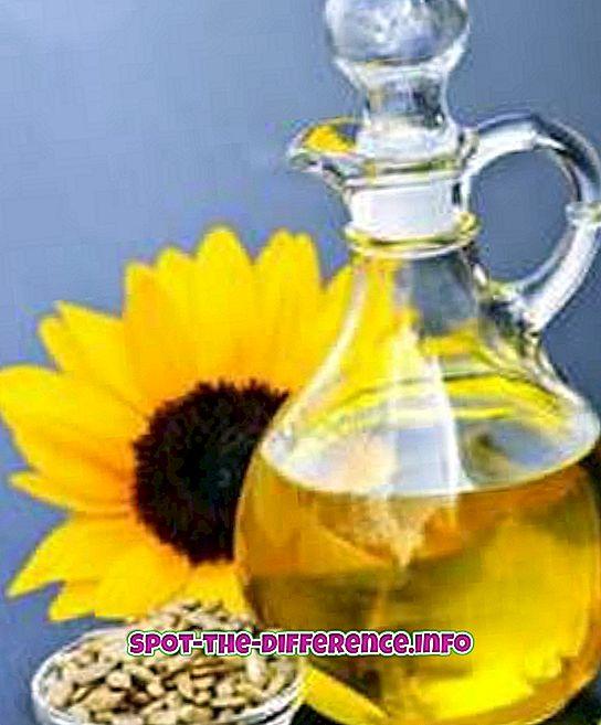 Rozdiel medzi slnečnicovým olejom a podzemnicovým olejom