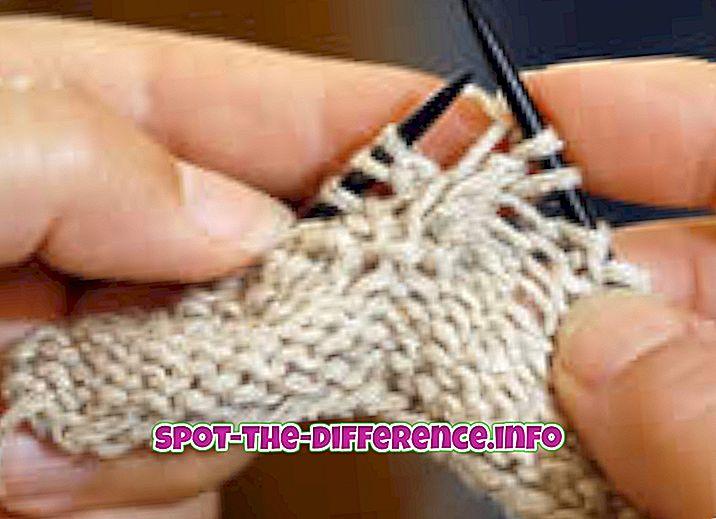 Rozdiel medzi pletenie a tkanie