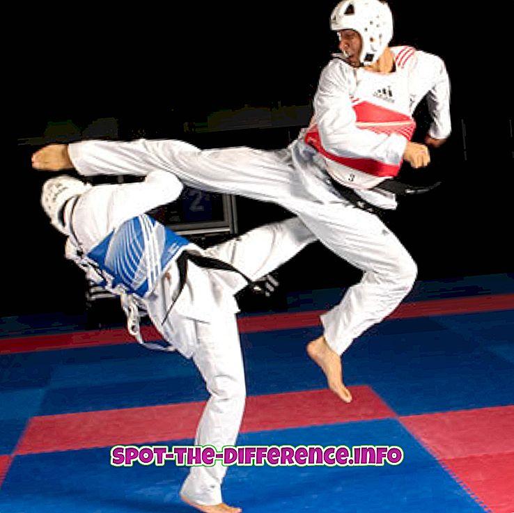 populaarsed võrdlused: Erinevus Taekwondo ja Karate vahel