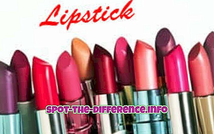 perbandingan populer: Perbedaan antara Lipstik dan Warna Bibir