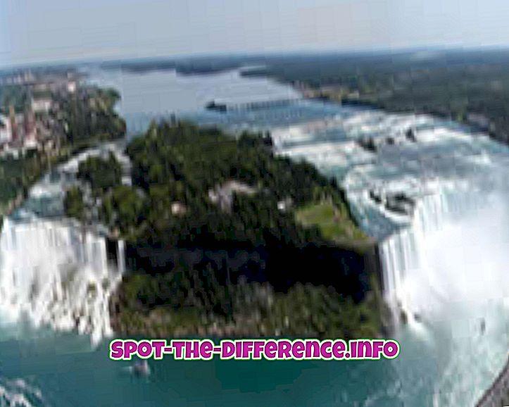 populaarsed võrdlused: Erinevus Niagara juga ja Horseshoe Falls'i vahel