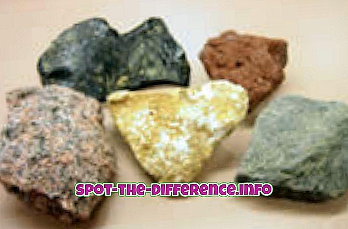 populární srovnání: Rozdíl mezi horninami a minerály