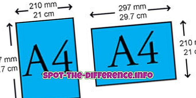 Rozdíl mezi velikostí formátu A4 a právního papíru