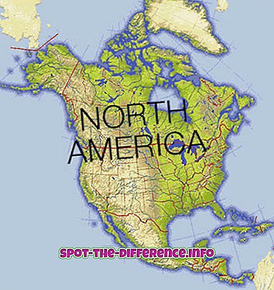 populaarsed võrdlused: Erinevus Põhja-Ameerika ja USA vahel