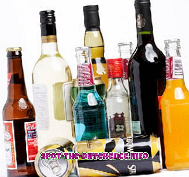 confronti popolari: Differenza tra tequila e altri alcolici