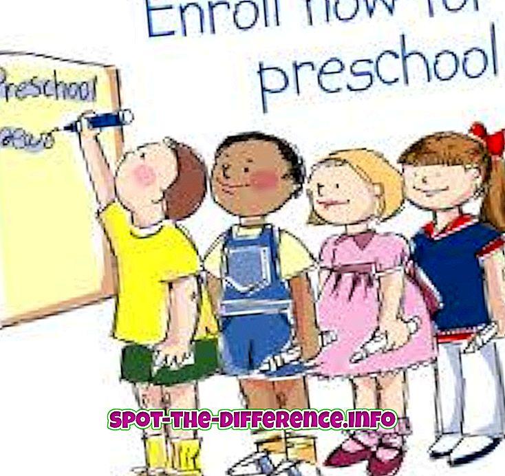 tautas salīdzinājumi: Atšķirība starp pirmsskolas un Playschool