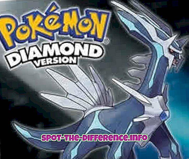populaarsed võrdlused: Pokémon Diamond ja Pearl vaheline erinevus
