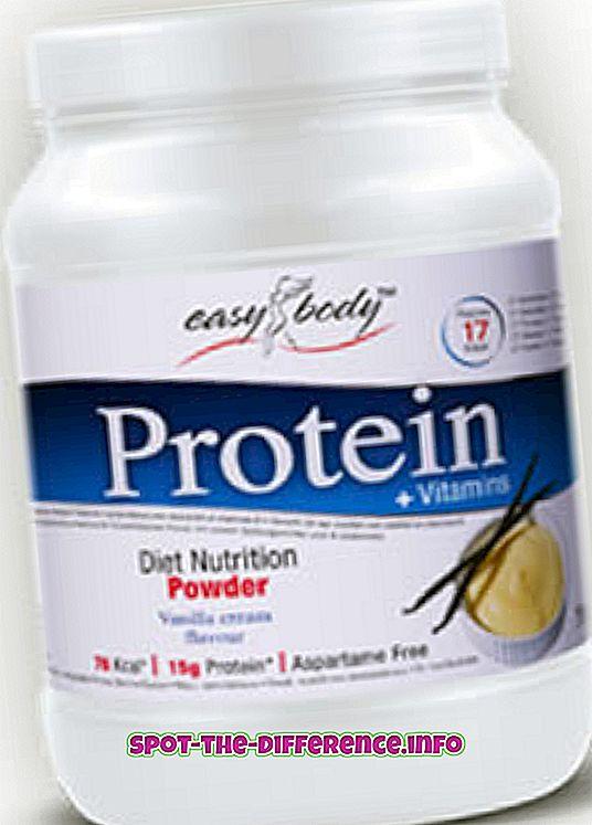 populárne porovnania: Rozdiel medzi proteínom a hmotnostným ziskom