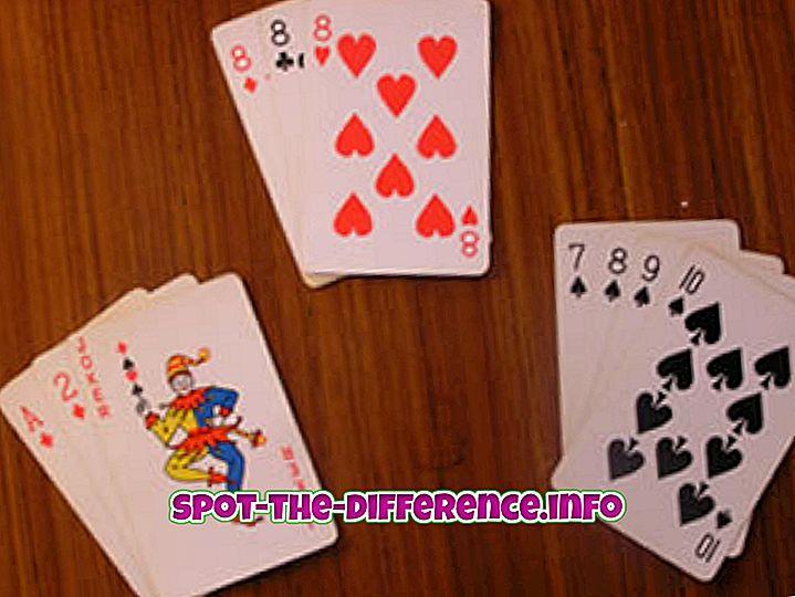 populaire vergelijkingen: Het verschil tussen Rummy en Poker Game