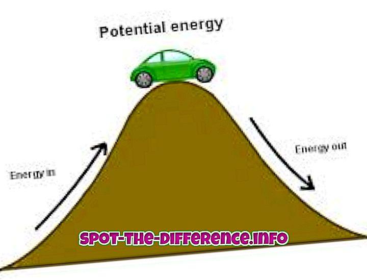 Unterschied zwischen kinetischer Energie und potentieller Energie