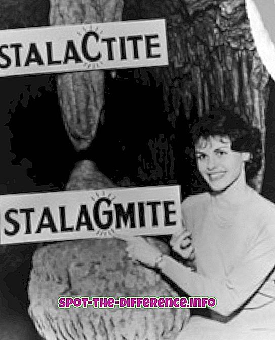 populære sammenligninger: Forskjellen mellom stalaktitt og stalagmitt