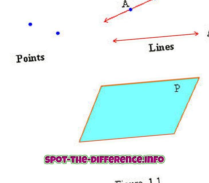 populära jämförelser: Skillnad mellan punkt, linje och plan