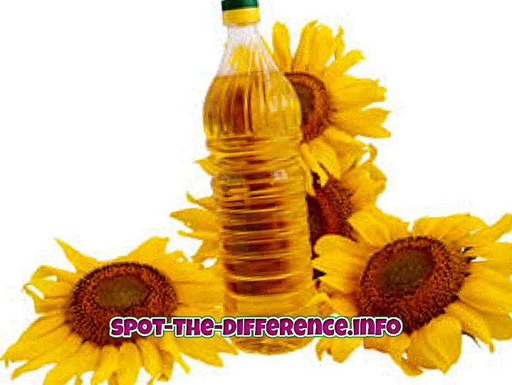 populære sammenligninger: Forskjellen mellom solsikkeolje og vegetabilsk olje
