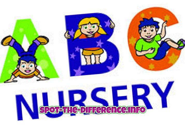 populaire vergelijkingen: Verschil tussen Nursery en Montessori
