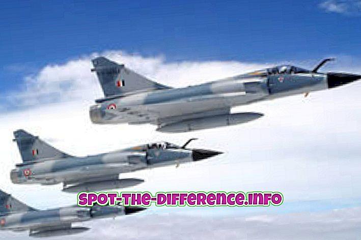 Sự khác biệt giữa Hải quân và Không quân